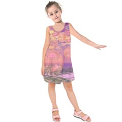 Glorious Skies, Abstract Pink And Yellow Dream Kids  Sleeveless Dress