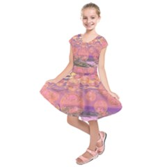 Glorious Skies, Abstract Pink And Yellow Dream Kids  Short Sleeve Dress