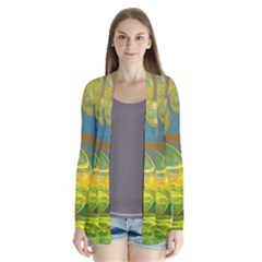 Golden Days, Abstract Yellow Azure Tranquility Cardigans