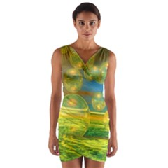 Golden Days, Abstract Yellow Azure Tranquility Wrap Front Bodycon Dress