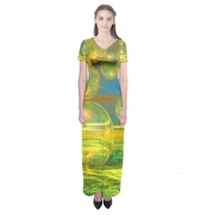 Golden Days, Abstract Yellow Azure Tranquility Short Sleeve Maxi Dress