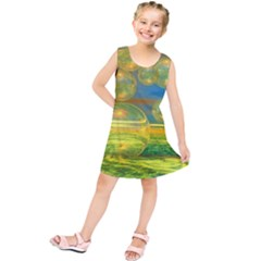 Golden Days, Abstract Yellow Azure Tranquility Kids  Tunic Dress
