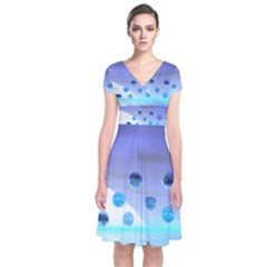 Moonlight Wonder, Abstract Journey To The Unknown Short Sleeve Front Wrap Dress