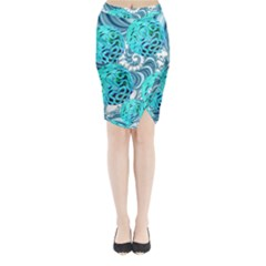 Teal Sea Forest, Abstract Underwater Ocean Midi Wrap Pencil Skirt