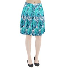 Teal Sea Forest, Abstract Underwater Ocean Pleated Skirt