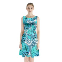 Teal Sea Forest, Abstract Underwater Ocean Sleeveless Chiffon Waist Tie Dress