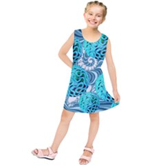 Teal Sea Forest, Abstract Underwater Ocean Kids  Tunic Dress
