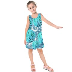 Teal Sea Forest, Abstract Underwater Ocean Kids  Sleeveless Dress