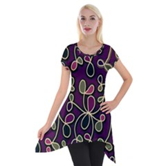 Elegant purple pattern Short Sleeve Side Drop Tunic