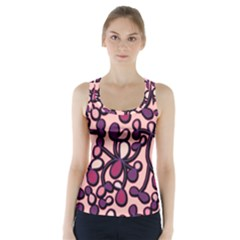 Pink And Purple Pattern Racer Back Sports Top