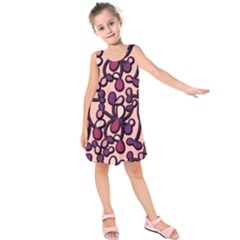 Pink And Purple Pattern Kids  Sleeveless Dress