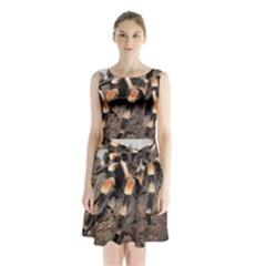 Tarantula Sleeveless Chiffon Waist Tie Dress