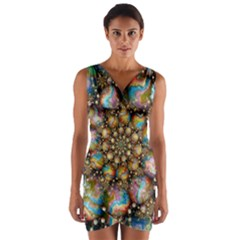 Marbled Spheres Spiral Wrap Front Bodycon Dress