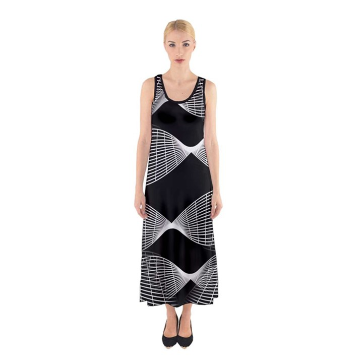 Wavy Lines Black White Seamless Repeat Sleeveless Maxi Dress
