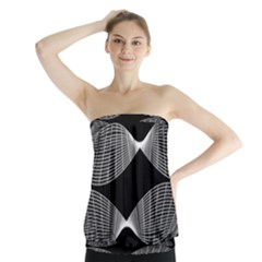 Wavy Lines Black White Seamless Repeat Strapless Top