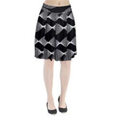 Wavy Lines Black White Seamless Repeat Pleated Skirt