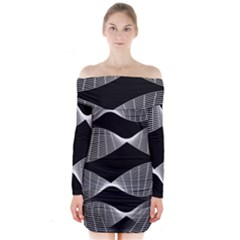 Wavy Lines Black White Seamless Repeat Long Sleeve Off Shoulder Dress