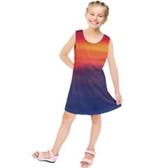 Sunrise Colors Purple Orange Pink Kids  Tunic Dress
