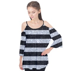 Stripes2 Black Marble & Gray Marble Flutter Sleeve Tee