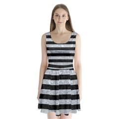 Stripes2 Black Marble & Gray Marble Split Back Mini Dress