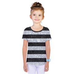 Stripes2 Black Marble & Gray Marble Kids  One Piece Tee