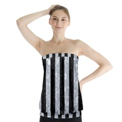 Stripes1 Black Marble & Gray Marble Strapless Top