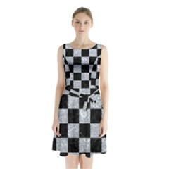 Square1 Black Marble & Gray Marble Sleeveless Waist Tie Chiffon Dress