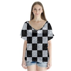 Square1 Black Marble & Gray Marble V Neck Flutter Sleeve Top