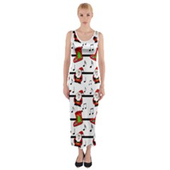 Xmas song pattern Fitted Maxi Dress