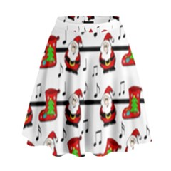 Xmas song pattern High Waist Skirt