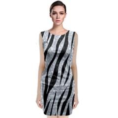 Skin3 Black Marble & Gray Marble (r) Classic Sleeveless Midi Dress