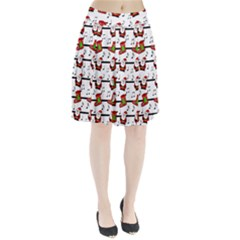 Xmas song pattern Pleated Skirt