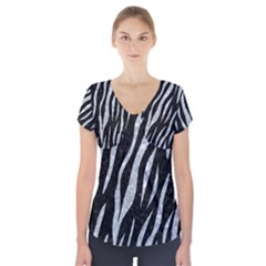 Skin3 Black Marble & Gray Marble Short Sleeve Front Detail Top