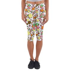 Xmas Candy Pattern Capri Yoga Leggings
