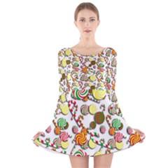 Xmas candy pattern Long Sleeve Velvet Skater Dress