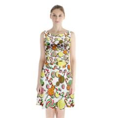 Xmas candy pattern Sleeveless Chiffon Waist Tie Dress