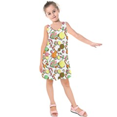 Xmas Candy Pattern Kids  Sleeveless Dress