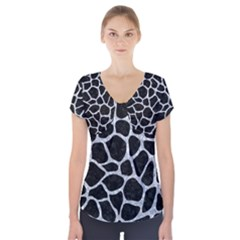 Skin1 Black Marble & Gray Marble (r) Short Sleeve Front Detail Top