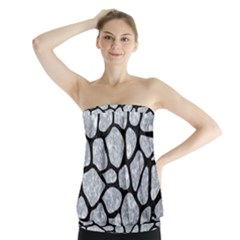 Skin1 Black Marble & Gray Marble Strapless Top