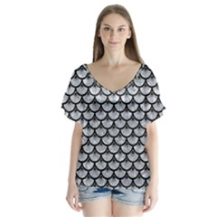 Scales3 Black Marble & Gray Marble (r) V Neck Flutter Sleeve Top