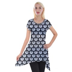 Scales3 Black Marble & Gray Marble (r) Short Sleeve Side Drop Tunic