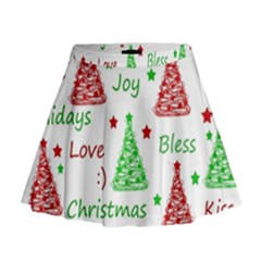New Year pattern Mini Flare Skirt