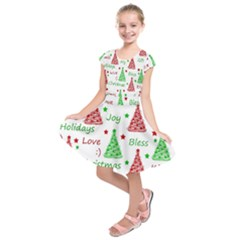 New Year Pattern Kids  Short Sleeve Dress