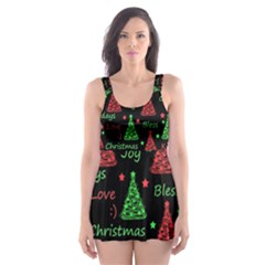 New Year pattern - red and green Skater Dress Swimsuit