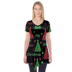 New Year Pattern   Red And Green Short Sleeve Tunic