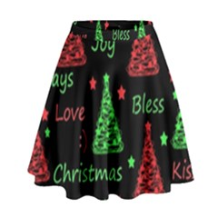 New Year pattern - red and green High Waist Skirt