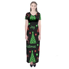 New Year pattern - red and green Short Sleeve Maxi Dress