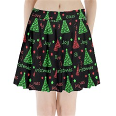 New Year Pattern   Red And Green Pleated Mini Skirt