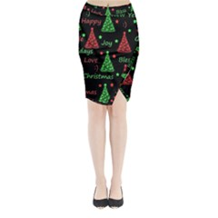 New Year Pattern   Red And Green Midi Wrap Pencil Skirt