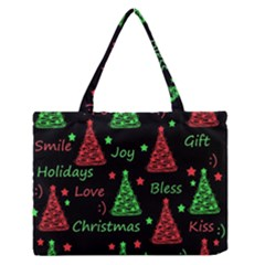 New Year pattern - red and green Medium Zipper Tote Bag